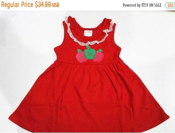 Monogrammed Back to School Dress with Lace Trimmed Collar, Cotton Knit, Babies, Toddlers, Girls, Red, Navy, Ships Free