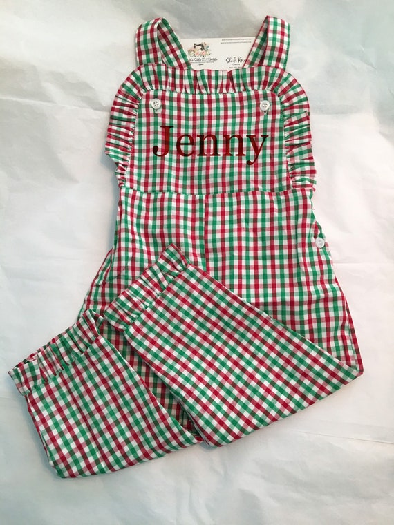 Personalized Toddler Christmas Plaid Gingham Longall,  Boys Christmas Longall, Christmas Longall, Toddler Christmas Overalls