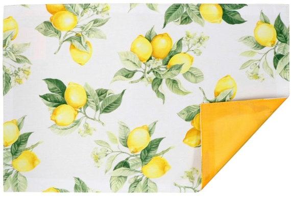 Monogrammed Lemon Placemat Set, Placemats with Lemons, Personalized Lemon Placemats