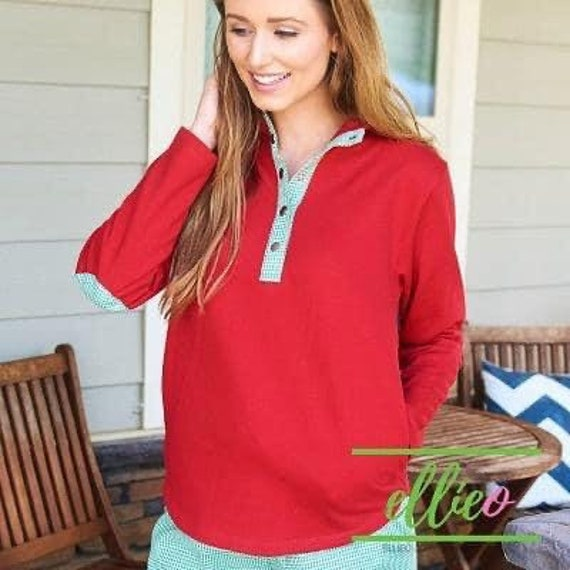 Personalized Ladies Snap Front Pullover Knit Top, Christmas 1/4 Snap Front Pullover, Women's Christmas Pullover, Gingham Trim, CLEARANCE