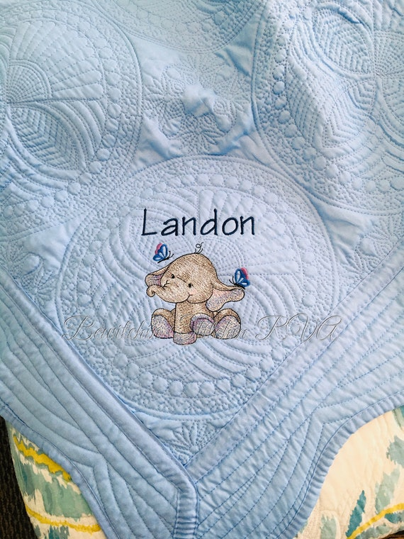 Personalized Blue Baby Quilt, White Heirloom Quilt, Monogrammed Quilt, White Blanket, Pink, Light Purple, Teal, Mint, Light Gray