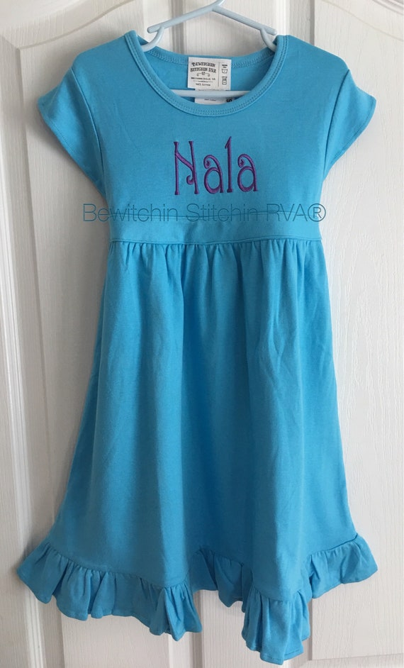 Personalized Knit Dress, Ruffle, Ties, Baby, Toddler, Girls, Blue