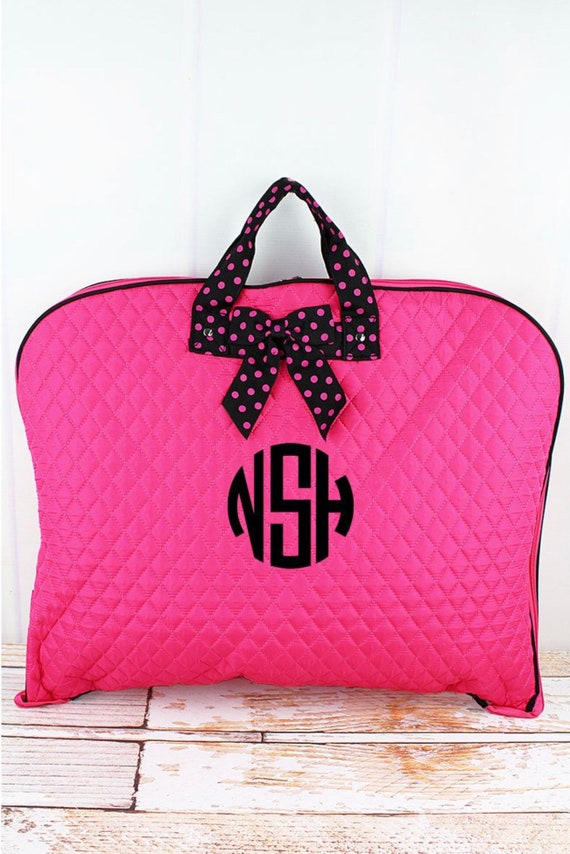 Personalized Hot Pink Quilted Garment Bag, Bridesmaid Weekend Bag, Bridal Gift Bag, Travel Garment Bag