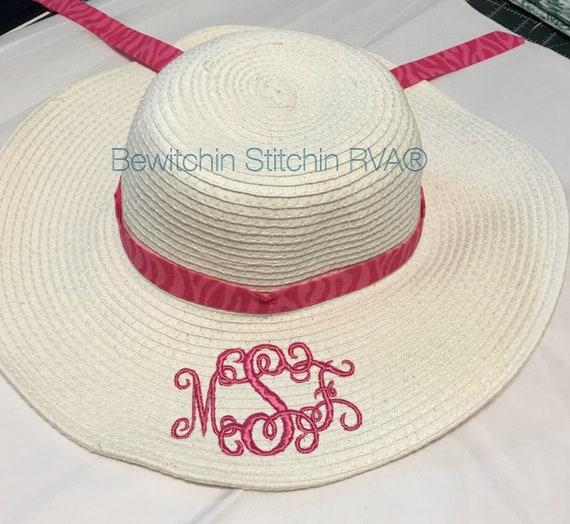 Monogrammed Kids Floppy Straw Hat, Girls Ivory Straw Hat, Beach Hat, Ivory, Pink, Hot Pink, Lavender, Aqua, Navy, Coral