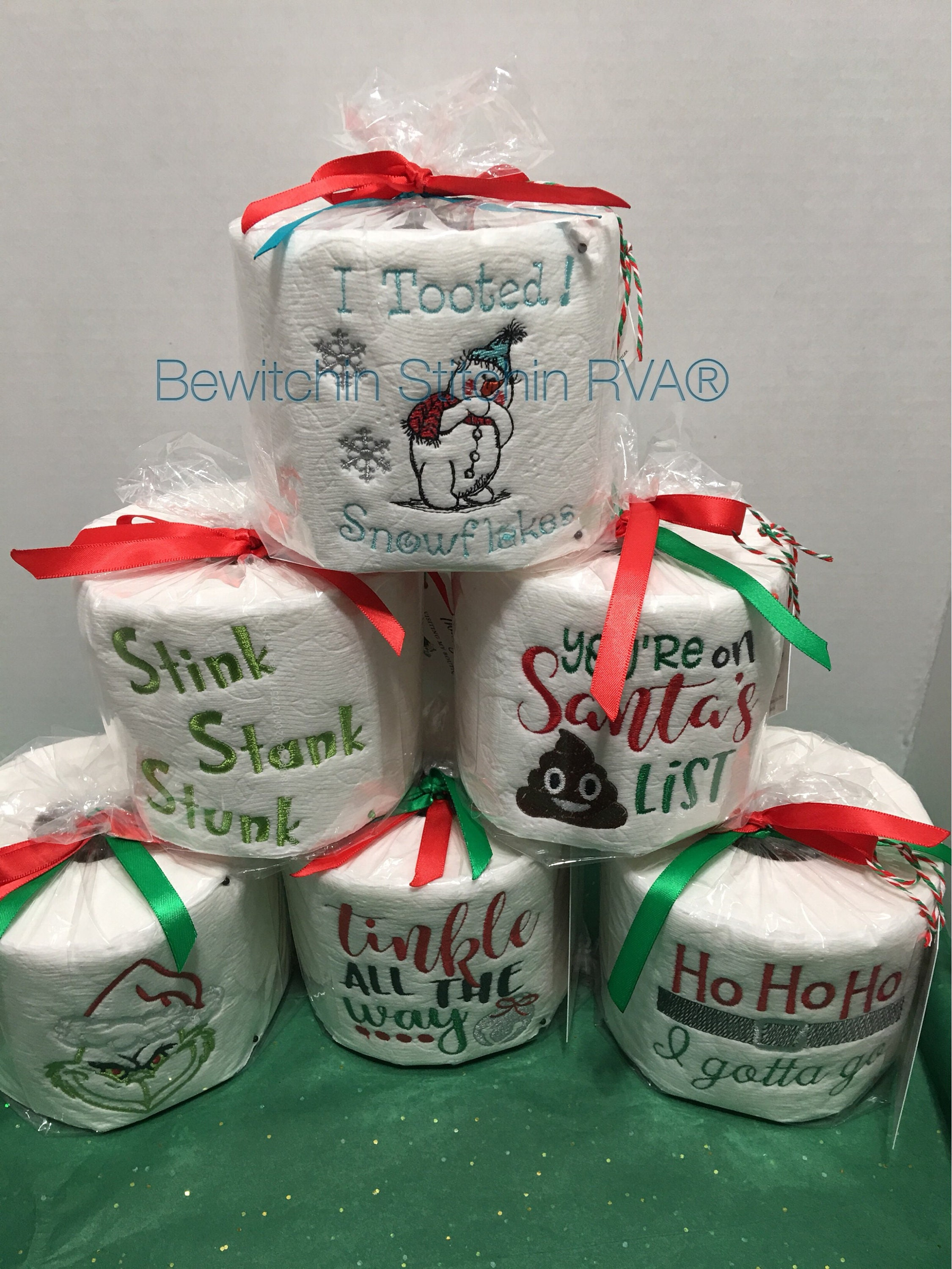 Embroidered Christmas Toilet Paper Roll, Christmas Gag Gift