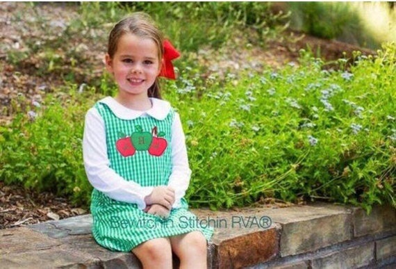 Personalized Gingham Jumper Dress, Christmas Dress, Babies, Toddlers, Girls, navy, red, green, maroon