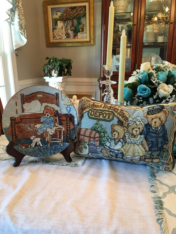 "River Shore Bedtime Blues, ""Lovable Teddy"" Collector Plate by Michael Hague, with coordinating tapestry pillow set"