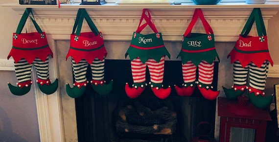 Elf Pants Christmas Stocking, Jingle Bell Stocking, Elf Stocking, Green, Red, EMBROIDERED MONOGRAM, In Stock