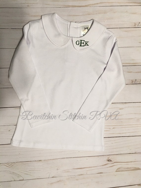 Personalized Peter Pan Collar Top, Unisex, long sleeves, white, babies, toddlers, boys, girls