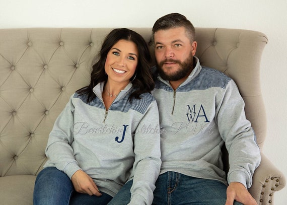 Personalized Grey Unisex Quarter Zip Pullover, Preppy Adult Unisex Pullover, Bailey & Beau Pullover, Gingham Trimmed Pullover