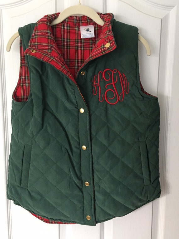Monogrammed Quilted Reversible Vest, Ladies, Arctic Blue, Hunter Green, Plaid Lining, Embroidered