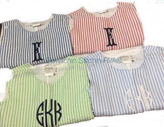 Personalized Green Seersucker Jon Jon, Blue Seersucker Shortall, Romper, Baby, Toddler, Seersucker, Fully Lined