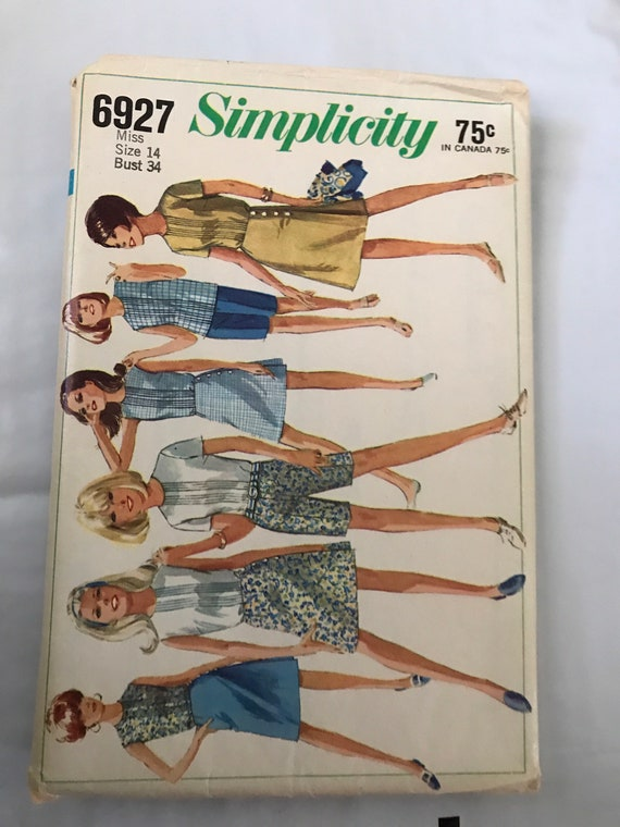 "Simplicity 6927, 1960's Vintage Misses Wrap Skirt, Shorts, Blouse Sewing Pattern, Sixties Shorts and Skirt Pattern, Size 14, Bust 34"", Uncut"