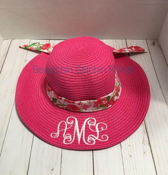 Monogrammed Kids Floppy Straw Hat, Girls Hot Pink Straw Hat, Beach Hat, Ivory, Pink, Hot Pink, Lavender, Aqua, Navy, Coral