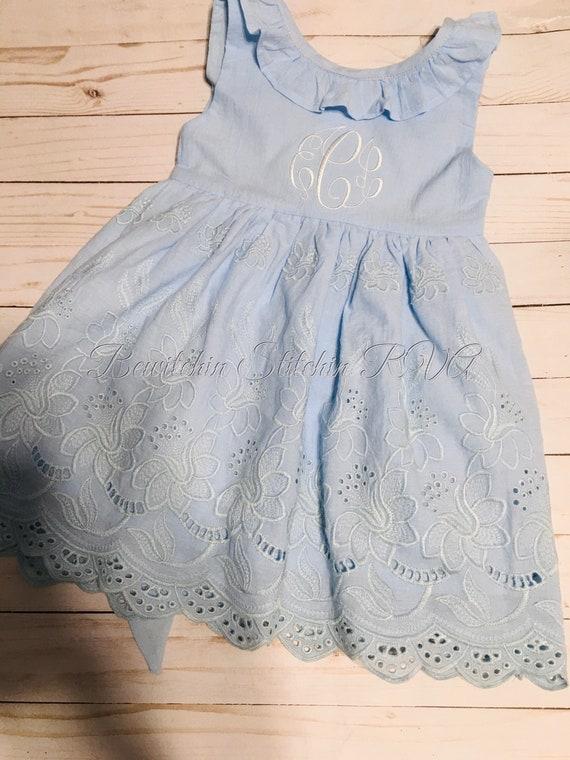 Personalized Blue Eyelet Flower Girl Dress, Girls Blue Eyelet Dress, Toddler Blue Eyelet Dress, Eyelet Dress, Monogrammed Blue Eyelet Dress