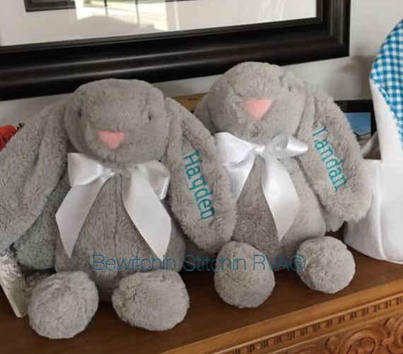 """Personalized Plush Rabbit, Bunnies, Floppy Ears, Large 15"""", Embroidered, Coffee, Cream, Pink, Blue, Lavender"""