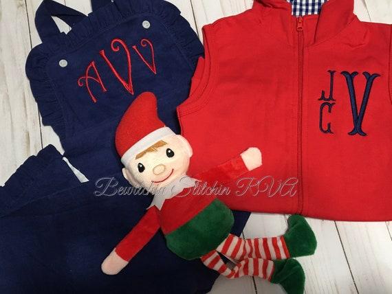 Monogrammed Zip Front Vest, Boys Vest, Toddler Vest, Boys Vest, Gray Vest, Red Vest, Gingham Trim Vest, Unisex Vest