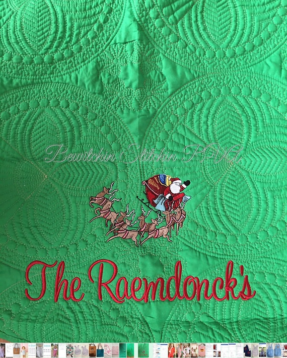 Personalized Quilted Christmas Tree Skirt, White Christmas Tree Skirt, Red Christmas Tree Skirt, Green Quilted Christmas Tree Skirt