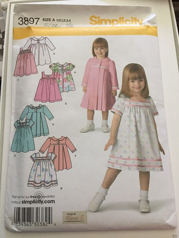 Simplicity 3897 Toddler Dress and Coat Sewing Pattern, New, Uncut, Factory Folded