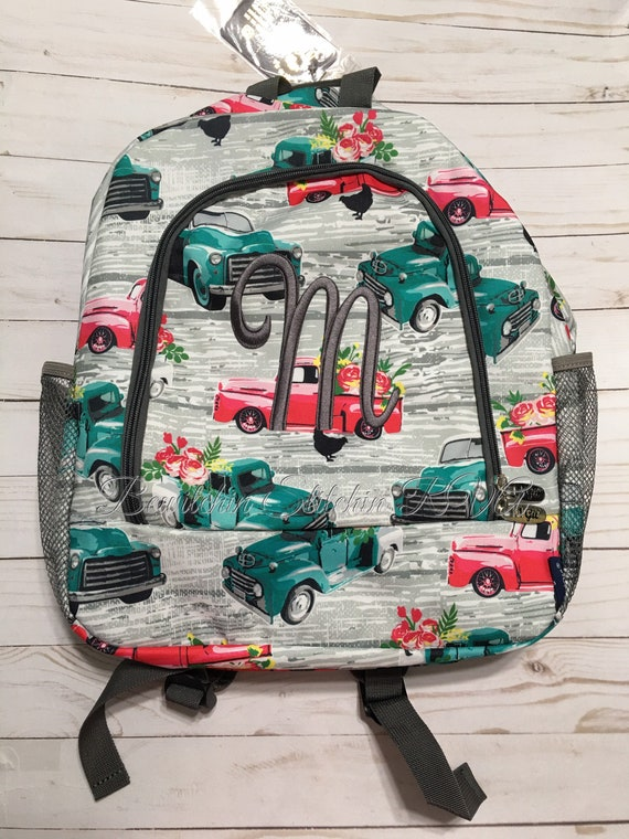 Personalized Farm Truck Backpack, Truck Backpack, Vintage Trucks Backpack, Backpack with Trucks, Farmhouse Backpack