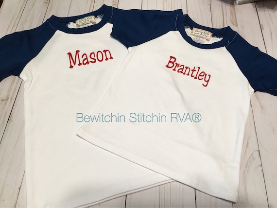 Personalized Short Sleeve Raglan T-Shirt, Shirt, Tee, Babies, Toddlers, Boys, White, Gray, Grey, Navy