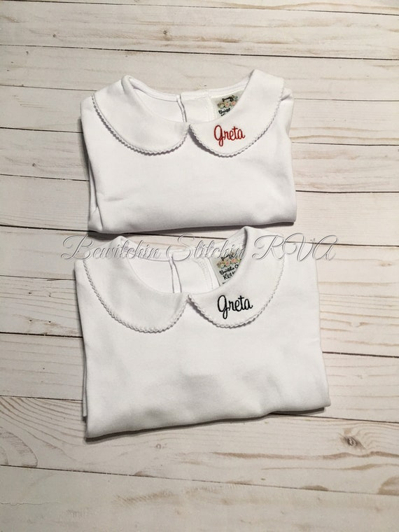 Personalized Peter Pan collar shirt, top, long sleeves, white, babies, toddlers, girls, Lace Trim Collar or Plain Collar, Ships Free