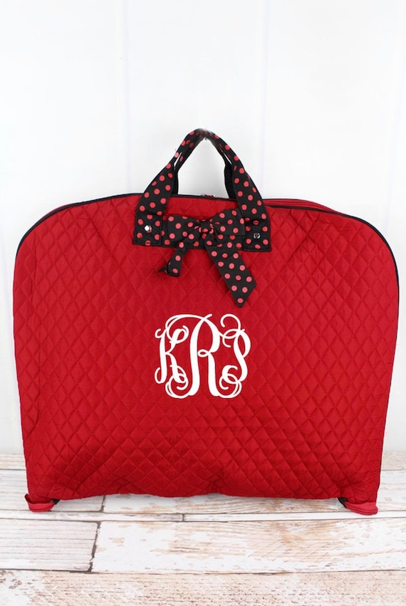 Personalized Red Quilted Garment Bag, Bridesmaid Weekend Bag, Bridal Gift Bag, Travel Garment Bag