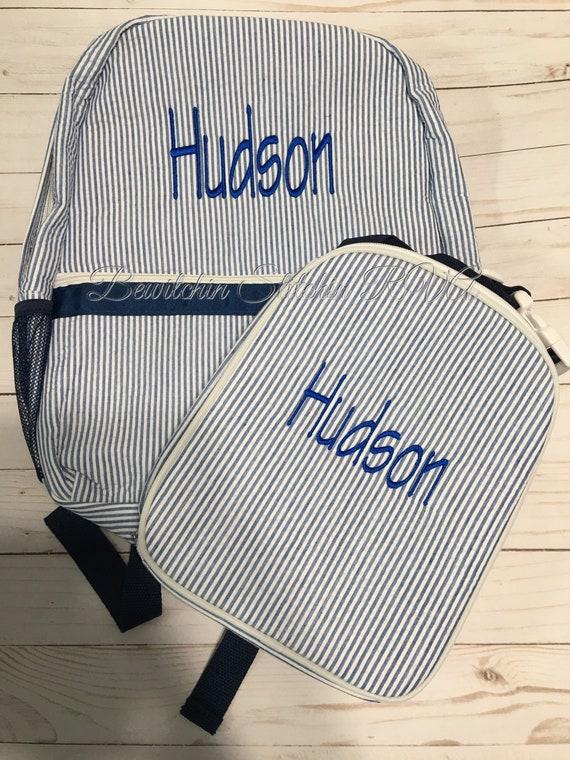 Personalized Full Size Seersucker Backpack, Personalized Gray Seersucker Backpack, Child's Full Size Seersucker Backpack