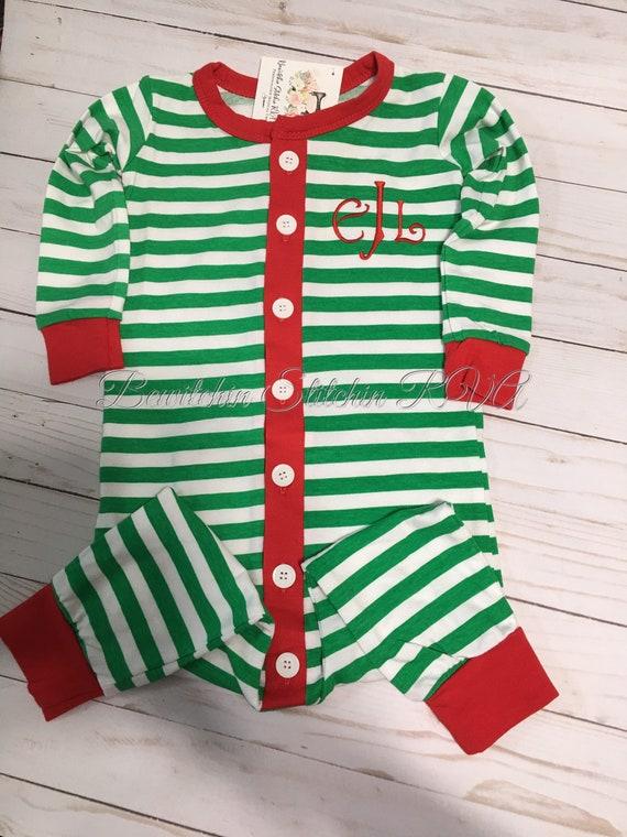 Monogrammed Butt Flap Christmas Pajamas, Unisex Kids Christmas PJs, Drop Seat Pajamas, Union Suit Pajamas, Christmas Pajamas