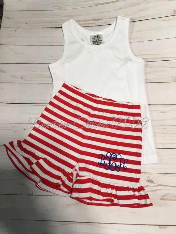 Girls Navy Shorts, Toddler Shorts, Ruffled Shorts, Purple Stripe Shorts, Red Stripe Shorts, Baby Shorts, Free Racer-Back Tank Top