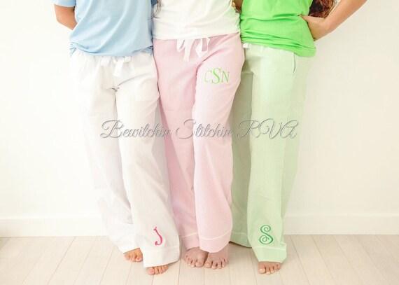 Personalized Ladies Lounge Pants, Seersucker Lounge Pants, Seersucker Pajama Pants, Pink Pants, Blue Pants, Green Pants
