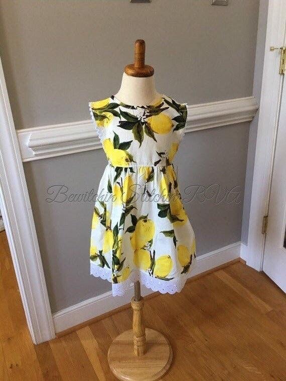 Custom Made Girls Lemon Print Dress, Eylelet Trim Dress with Rick Rack, Toddlers Lemon Dress, Girls Lemon Dress, Ships Free