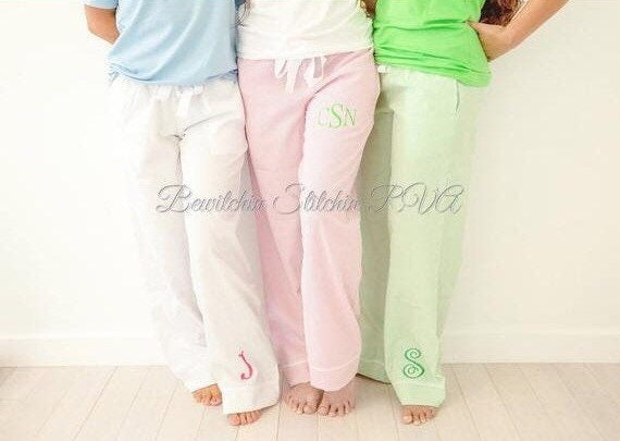 Personalized Ladies White Seersucker Pants, Seersucker Lounge Pants, Seersucker Pajama Pants, Pink Pants, Blue Pants, Green Pants