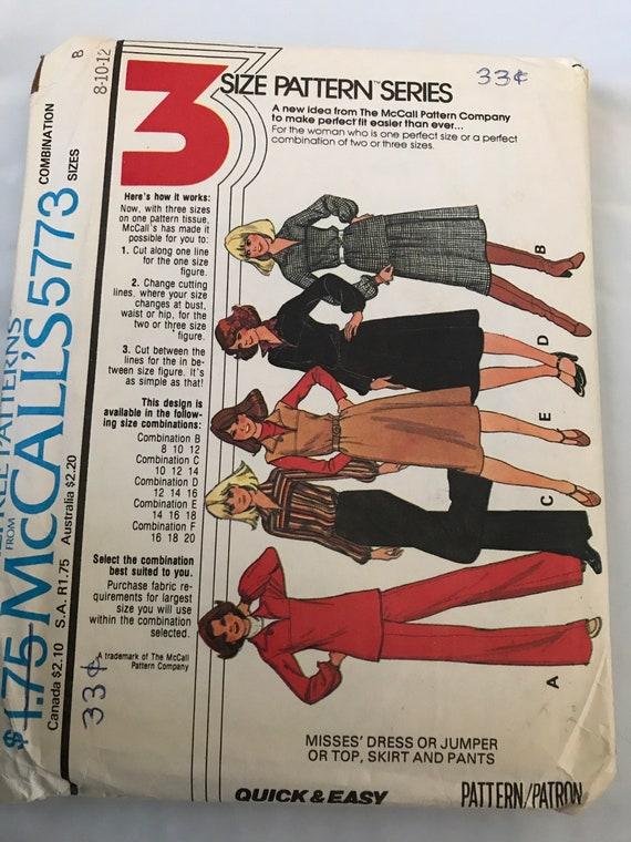 McCalls 5773, Vintage Dress, Top, Pants, and Skirt Sewing Pattern, 1970's Sewing Pattern, Seventies Dress Pattern, Size 8-10-12, Uncut