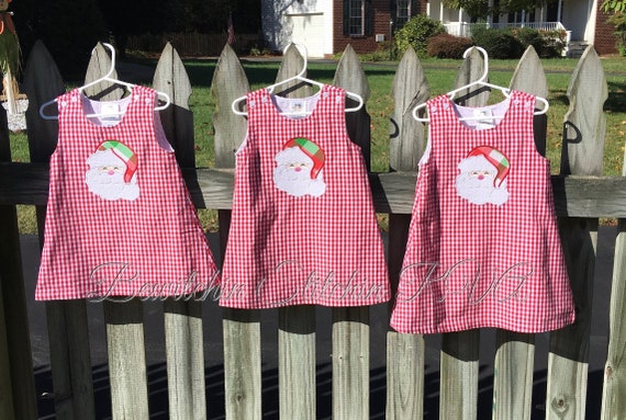 Personalized Red Gingham Christmas Jumper Dress, Snowman Gingham Dress, Girls Red Gingham Dress, Baby Dress, Toddler Dress, navy,