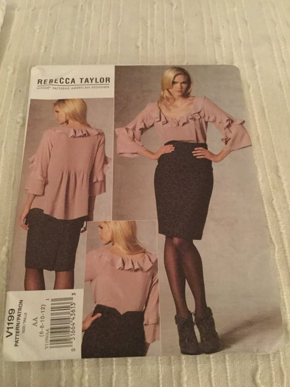 Vogue, V1199, Rebecca Taylor, Vogue American Designer, Size AA, 6,8,10,12, Tunic Blouses and Skirt, New, FF, Uncut, 2010, Oop, Ships Free