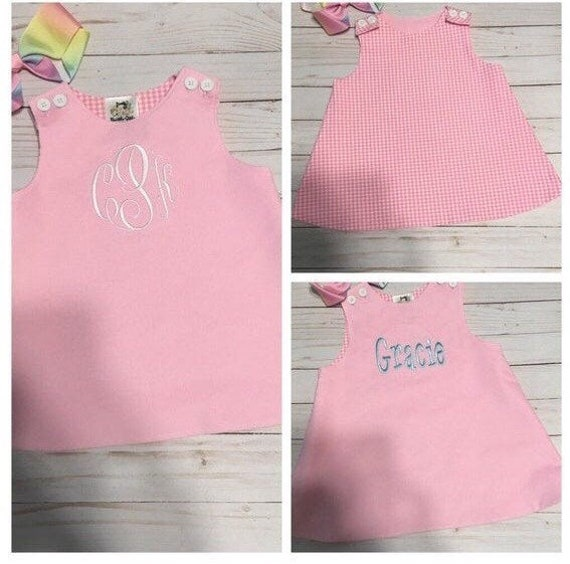 Monogrammed Reversible Jumper Dress, Christmas Dress, Corduroy, Gingham Lined, Baby, Toddler, Girls