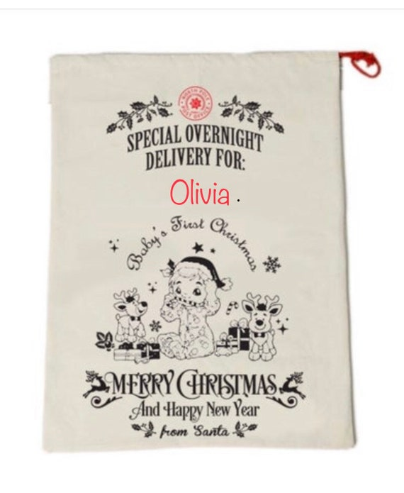 Personalized Baby's First Christmas Santa bag, Baby Santa Bag, Santa Bag, Santa Delivery Bag, Christmas Gift, Embroidered