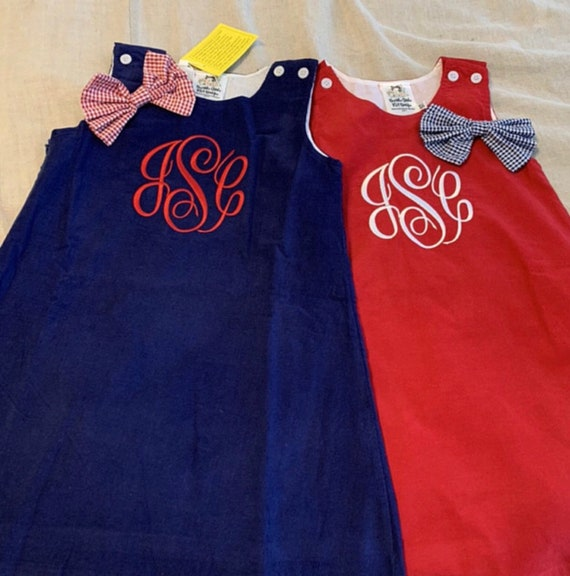 Monogrammed Corduroy Jumper Dress, Red Jumper, Christmas Dress, Corduroy, Fully Lined, toddlers, girls, navy, green, brown, Personalize