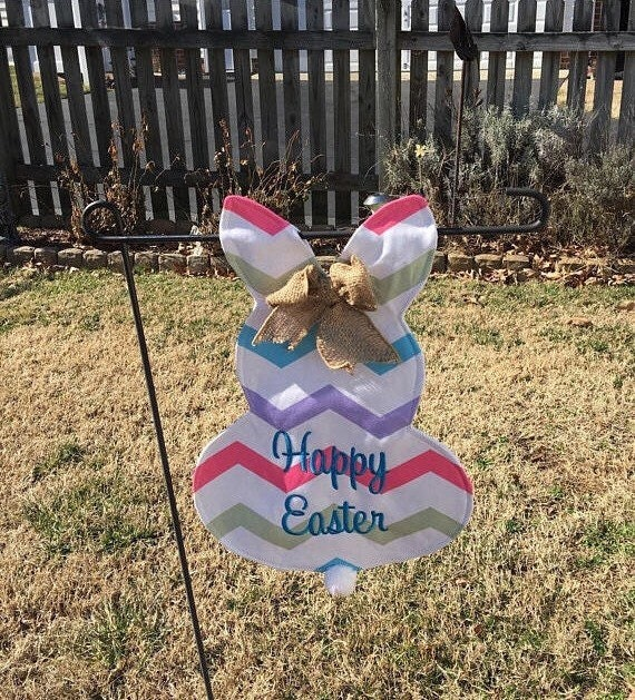 Personalized Easter Bunny Garden Flag, Bunny Flag, Embroidered, SHIPS BY 3/1/2019