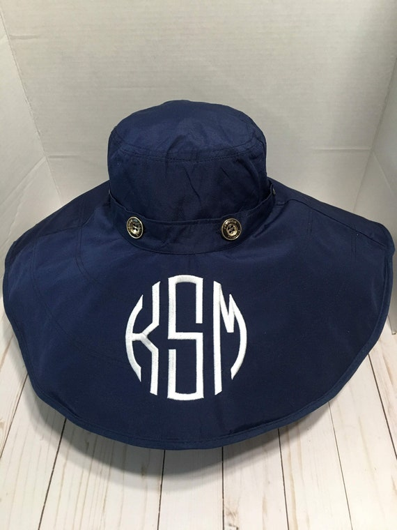 Personalized Navy UV Sun Hat, Convertible Sun Hat, Reversible Sun Hat, Button Sun Hat, Wide Brim Sun Hat, Two Hats in One