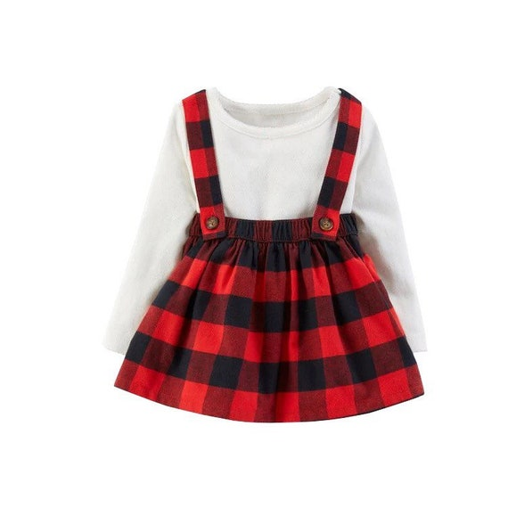 Girls Red Buffalo Check Skirt with Suspenders, Toddler Plaid Skirt with Suspenders, Suspender Skirt, Custom Made Skirt Set.Personalized