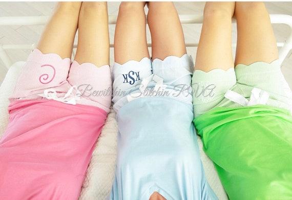 Personalized Ladies Blue Seersucker Shorts, Seersucker Scalloped Shorts, Seersucker Shorts, , Pink Shorts, Green Shorts, Blue Shorts