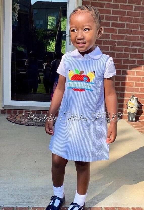 Personalized Seersucker Back to School Jumper Dress, Blue Seersucker Jumper, Girls Blue Seersucker Dress, Toddler Seersucker Dress, Blu