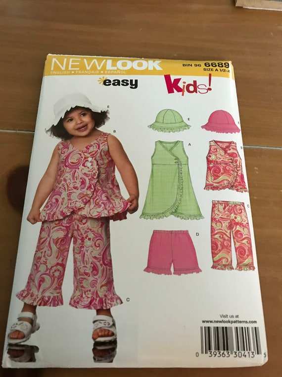 Toddler Girls Pants, Top, Hat, and Dress Pattern, New Look 6689, Sizes 1/2 -4, FF, Uncut, FREE SHIPPING