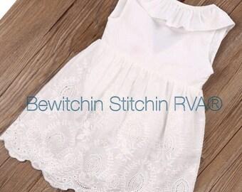 Flower Girl Dress, White Eyelet Dress, Beach Wedding, Lined, Toddlers, Girls