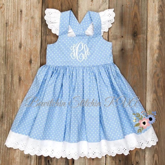 Personalized Girls Blue Dot Sundress, Toddler Blue Sundress, Girls Blue Sundress, Girls Blue Flutter Sleeve Dress