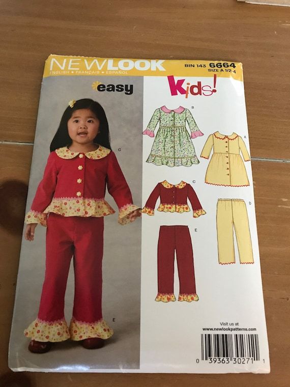Toddler Girls Pants, Top, and Dress Pattern, New Look 6664, Sizes 1/2 -4, FF, Uncut, FREE SHIPPING