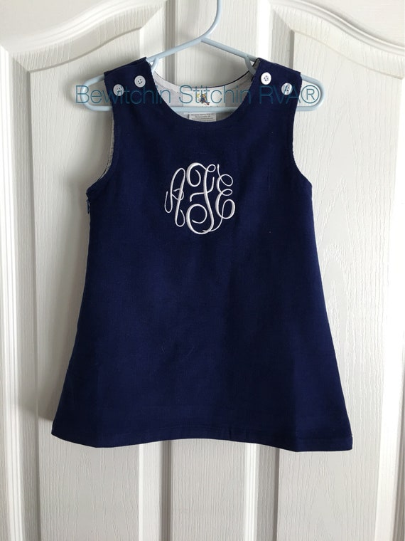 Navy Jumper Dress, Christmas Dress, Corduroy, Fully Lined, toddlers, girls, navy, green, brown, Monogrammed