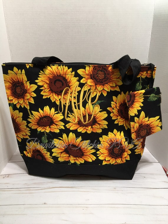 Monogrammed Sunflower Tote Bag Set, Personalized Sunflowers Tote